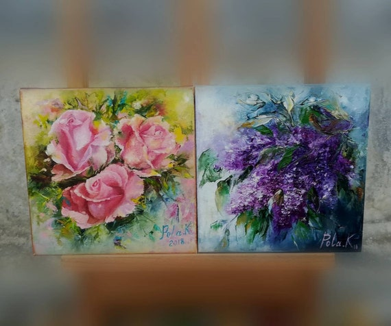 Rose And Lilac Flower Painting Set Original Paintings Oil On Etsy