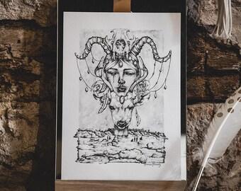 A4 - Affiche / Poster - Papier - Skull & Deer - Cerf et Crâne