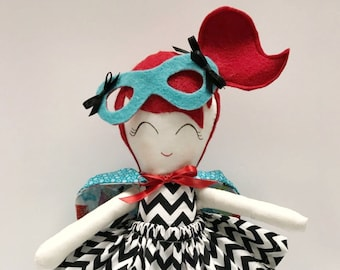 Modern Rag Doll, turquoise. Super Hero Doll. Limited Edition.Rag Doll. Doll. Customizable. Great Gift.