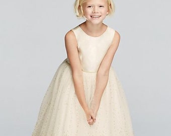 e9e6e3588b6 Flower Girl Dress Size 7. Ivory Satin Dress with Full tulle tutu skirt with  gold polka dots. David s Bridal Brand new