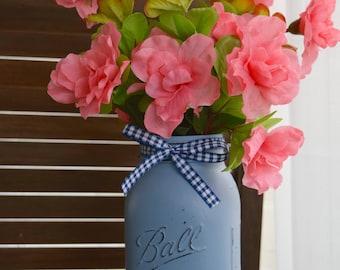 Rustic Mason Jar with Flowers