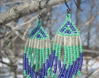 Blue and Green Native American Earrings