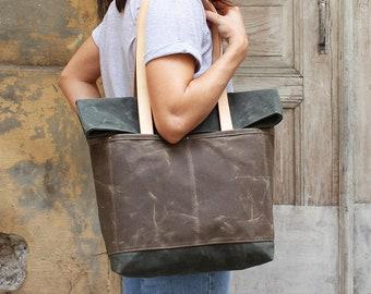 Canvas tote bag/ Wax canvas diaper bag/ Tote bag/ Wax canvas bag/ Canvas bag/ Wax canvas market bag/ Shopper bag/ Roll top bag