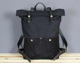 aeea30e4f2 Canvas backpack Rolltop backpack Leather backpack Canvas rucksack Laptop  backpack Canvas leather backpack Canvas Daypack Roll top backpack