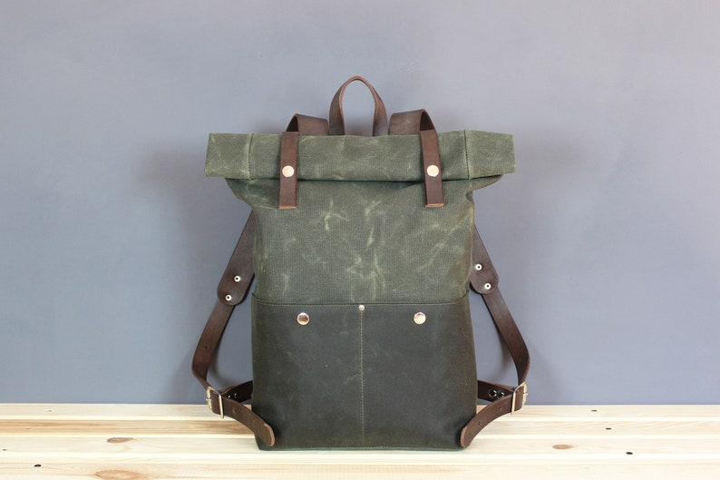 204adb3cfbaa Waxed canvas backpack Rolltop backpack Leather backpack Canvas
