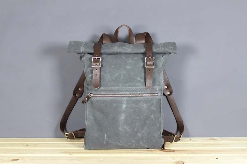 Waxed canvas rolltop backpack  Leather backpack  Gray Canvas  22144510ee944
