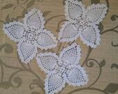 3 butterfly doilies, crocheted doilies, junk journal embellishments, scrap book embellishments, white cotton doilies, bulk lot of doilies