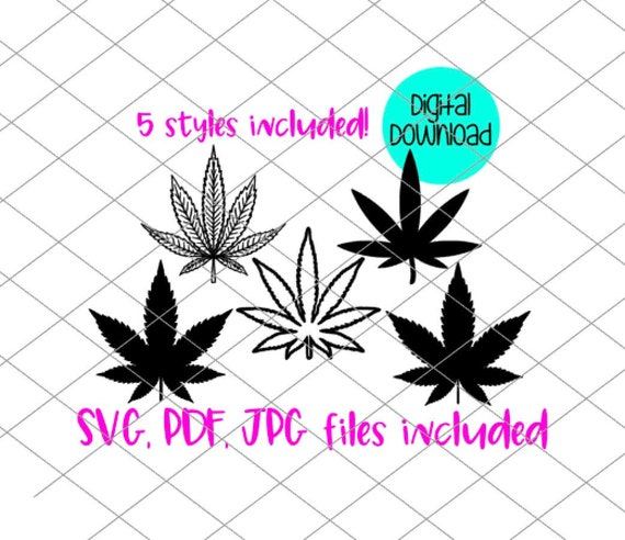 Pot Leaf Svg Jpg Pdf Marijuana Leaf Digital Download Cut File Etsy