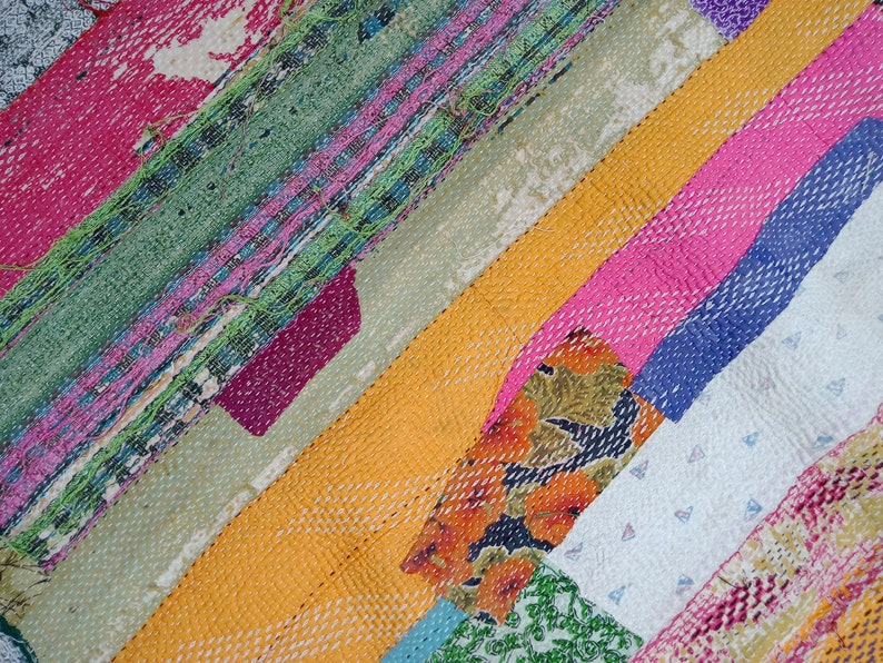 Stunning Amazing Vintage Kantha Master Rare Piece Rug Throw Heavy Unique Old Boho Bohemian Indian Hand stitched Antique Wall Hanging Quilt