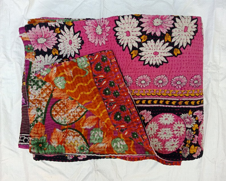 Vintage Kantha Master Rare Piece Rug Throw Heavy Unique Old Boho Bohemian Indian Hand stitched Antique Wall Hanging Quilt