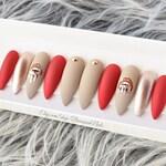 Dripping Lips Nails   Melting Gold Chrome Press On Nails   Matte Red Metallic False Nails   Nude Fake Nails   Glue On Nails   Kylie Lip Art