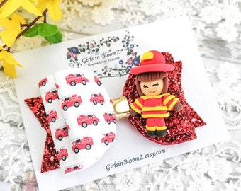 Fire Truck Emergency Boutique Hair Bow Making Flower Hairbow Centers Craft Embellishment Cabochon Supply Firetruck Resin 45mm Flatback