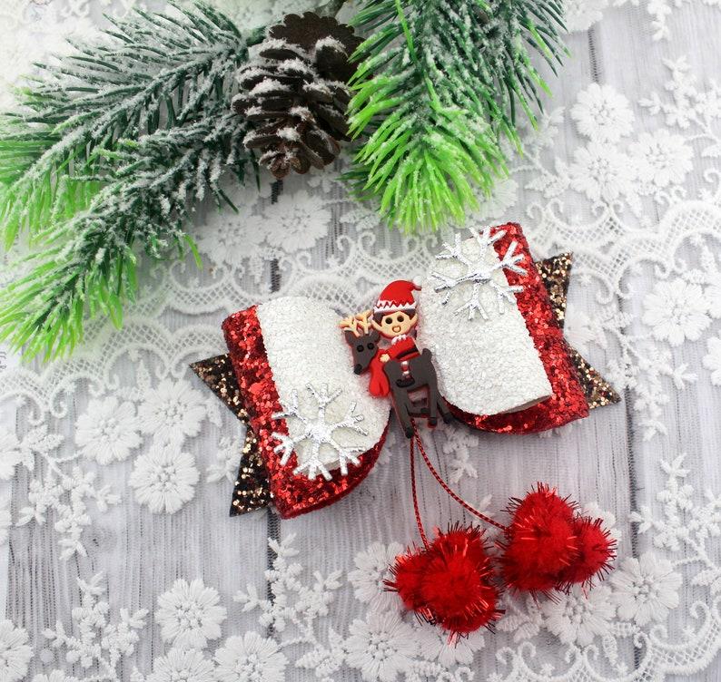 Christmas hair bowChristmas hair clipReindeer hair bowElf hair bowGirls glitter bowGlitter hairbowGift for girl