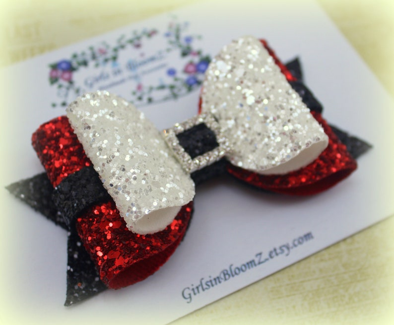 9e07a5a34a5d8 Christmas hair bow Girls Santa hair bow Glitter hair bow Red