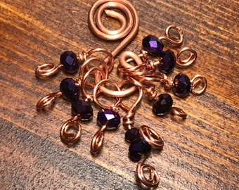 Copper and Crystal Stitch Markers
