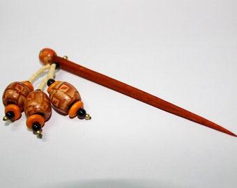Tribal Wooden Hair Sticks | Painted Wooden Beads | Girl's Bun Holder | Handmade |  End Drilled Pins | Wooden Accessories | Craft Supplies