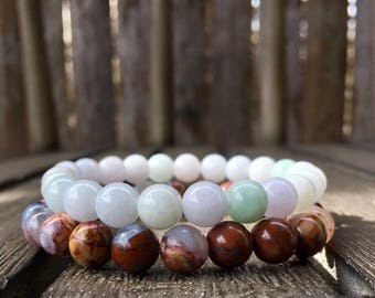 8mm Burmese Jade & Mexican Butterfly Agate Stretch Bracelets