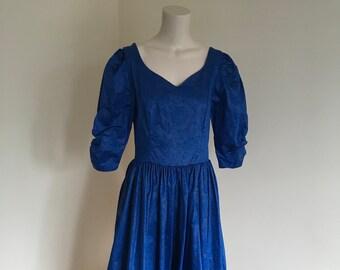 Vintage Cobalt Blue Laura Ashley Floral Damask Dress. Size 14