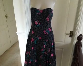 944e8d70ae5 Vintage Laura Ashley Black Pink Floral Midi Summer Dress Big Bow Size 12