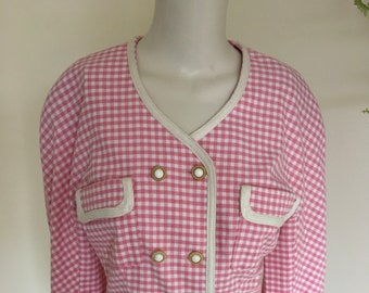 Vintage 80s Pink and White Gingham Check Jacket Size 12-14