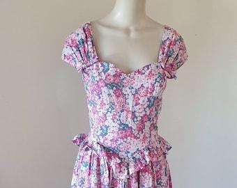 e04935e37e Vintage Laura Ashley Pink Floral Ruffle Frill Peplum Summer Wedding  Ocassion Tea Maxi Midi Dress. Size 16