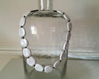 Vintage Pearlised Large Flat Beaded Necklace