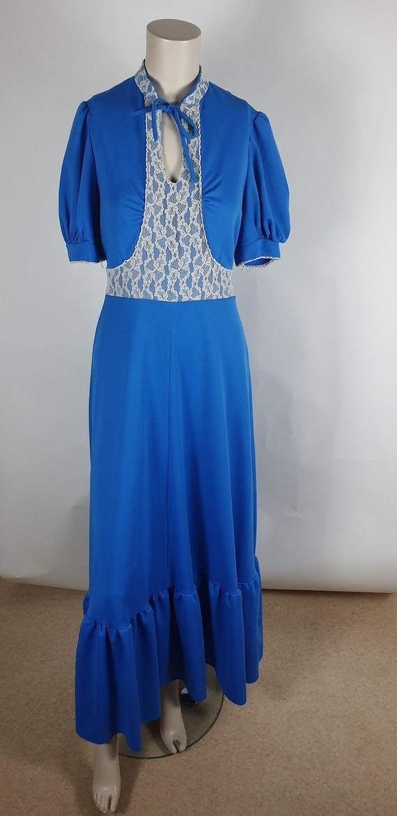 Vintage 70s Bright Blue Prairie Puff Sleeve Maxi D