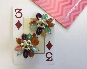 Vintage 80s Floral Bead Clip On Earrings
