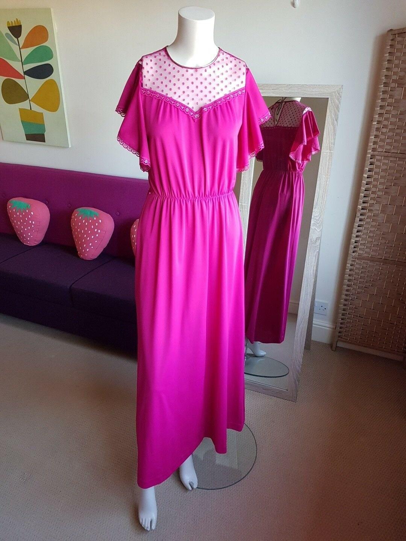 Vintage Fuschia Hot Pink Maxi Dress with Gold Trim Detail