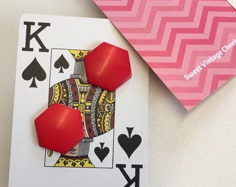 Vintage 80s Kitsch Lipstick Red Hexagonal Plastic Pierced Earrings