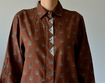0eafb25ba669f Vintage brown button up shirt with pheasants M 38