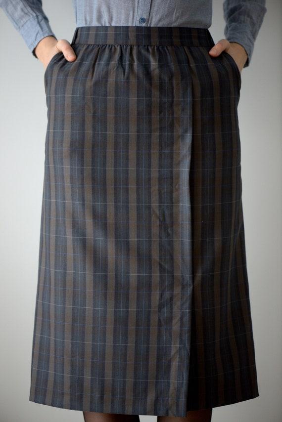 Vintage 80/'s Tartan Blue /& Brown Wool Pencil Midi Skirt