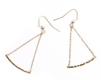 Delicate gold bar earrings