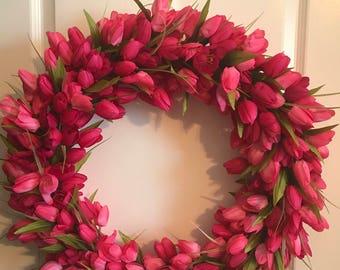 Pretty in Pink Tulip Wreath