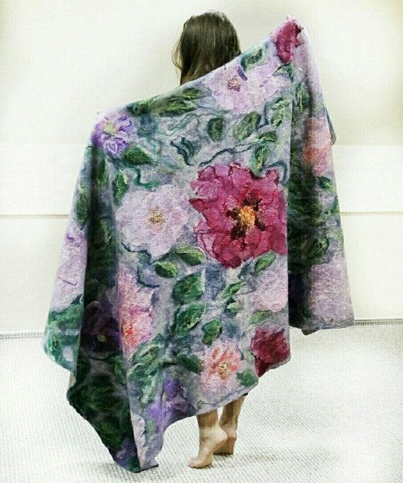 a07851f72efa Foulard en laine feutrée couverture jet couverture laine   Etsy