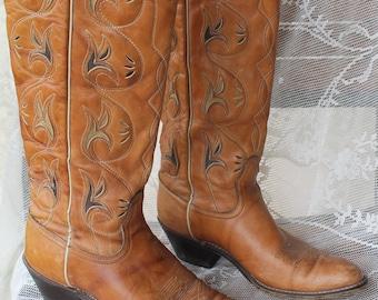 9299ef8b57c Vintage brown 70s cowboy boots, 1970s acme cowboy boots, acme cowboy boots, womens  cowboy boots, vintage cowboy boots, tall womens boots