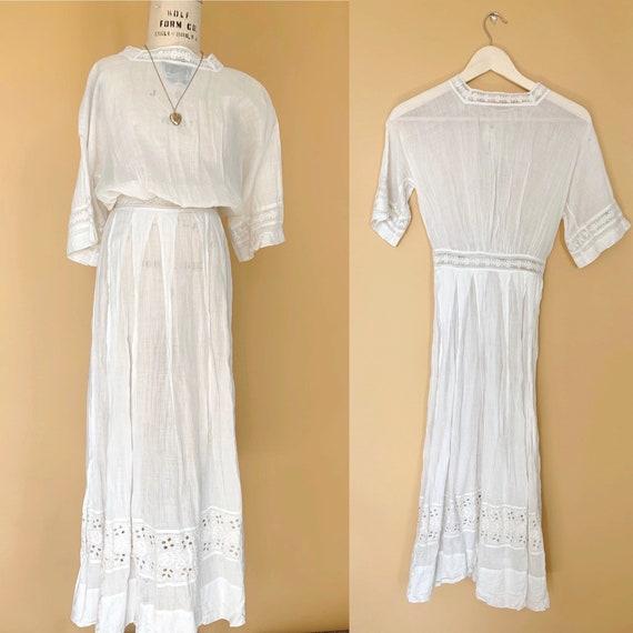 vintage Edwardian dress /  white lace eyelet victo
