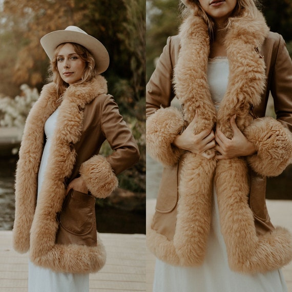 vintage 1970s shearling coat / vintage 70s leather