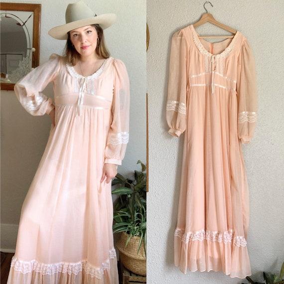 Vintage gunne sax prairie dress / gunne sax pink f