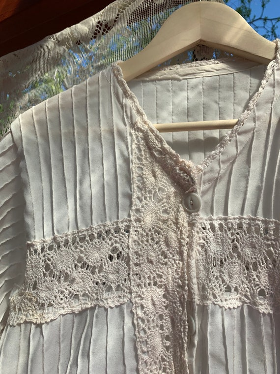vintage 70s Mexican tunic crochet blouse / 70s me… - image 10