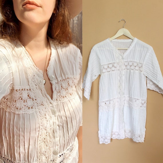 vintage 70s Mexican tunic crochet blouse / 70s me… - image 1