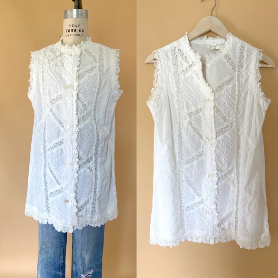 vintage white lace mexican cotton blouse / vintage