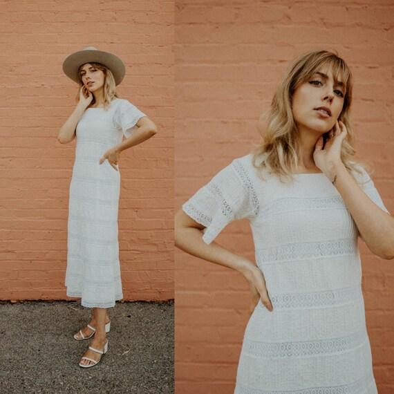 vintage boho cotton dress / 70s cotton lace dress