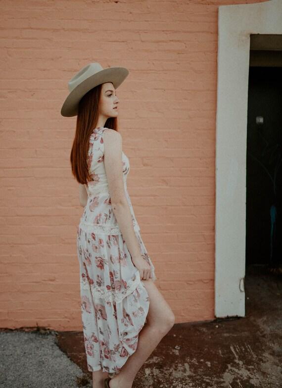vintage cotton gauze dress / 70s floral gauze dre… - image 5