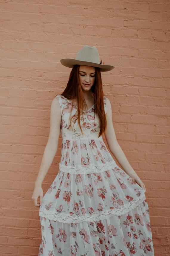 vintage cotton gauze dress / 70s floral gauze dre… - image 3