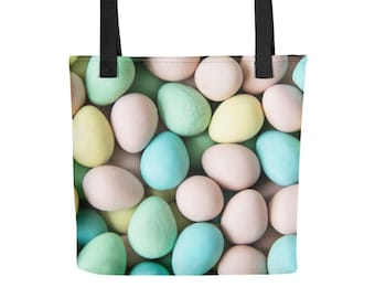 Easter Eggs Holiday Tote Bag - Christmas Wrapping Paper Alternative - All Over Print Easter Gift for Parties and Family