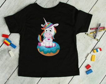 Rainbown Unicorn Donut Tee - Fun Party Doughnut Shirt for Kids