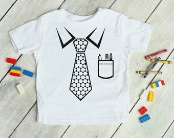 Funny Professional Business Shirt for Kids, Tie Tuxedo Pocket T-Shirt Design