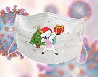 Christmas Holiday Face Mask - Dabbing Santa Claus Design - Xmas Holiday Tree Dab - Fun Christmas Present - Washable Protective Face Mask