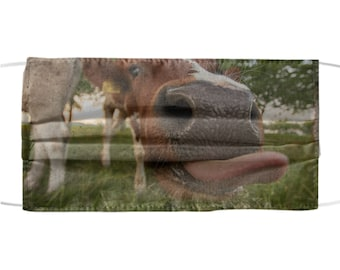 Funny Horse Face Mask - Cute Silly Farm Animals Tongue - Protective Face Mask - All Over Print - Reusable & Washable - One Size Fits All
